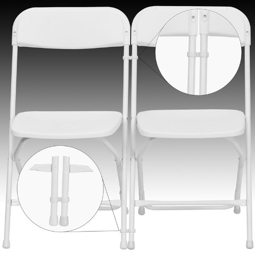 Flash Furniture Hercules Series 800-Pound Premium Plastic Folding Chair, White
