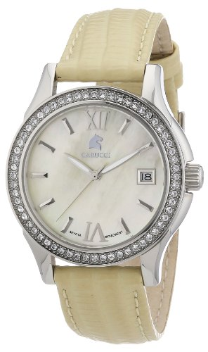 Carucci Watches CA2188YL - Reloj analógico automático para mujer, correa de cuero color amarillo
