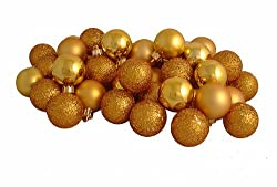 "32ct Golden Yellow Shatterproof 4-Finish Christmas Ball Ornaments 3.25"" (80mm)"
