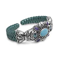 Southwest Spirit Sterling Silver Multi-Gemstone Teal Leather Cuff Bracelet from Relios Jewelry