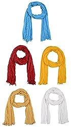 Fabkart Women's Cotton Dupatta (Pack of 5) (cottondu5pom_Multi-Coloured_Free size)