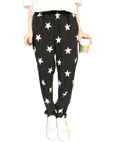 HaboZoo Womens Black White Star Print Baggy Harem Pants Trouser Onesize (Black)
