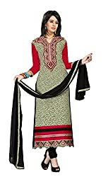 Pandadi Creation Women's Cotton Blue and Yellow Color Suit Piece Dress Material with Nazneen Dupatta.