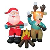 6.5' Santa & Reindeer Camping Roasting Marshmallows Christmas Airblown Inflatable Lighted Yard Decoration