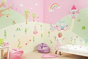 FunToSee Princess Girls Nursery and Bedroom Make-Over Decal Kit, Princess
