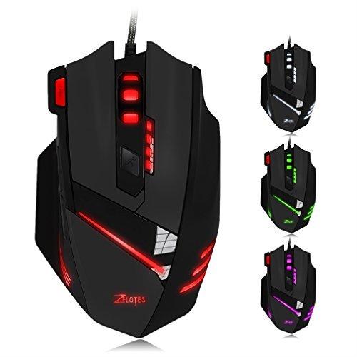 GranVela® T90professionale Gaming Mouse USB cablato ad alta precisione 9200DPI, 8pulsanti, con 7modalità di tipi di LED colorati Luce Respirazione, peso Tuning Set (Nero)