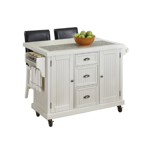 Home Styles 5022-958 Nantucket Kitchen Cart And 2 Stools, Distressed White front-301104