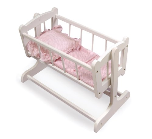 Badger Basket Heirloom Style Doll Cradle With Blanket And Pillow - Pink/White