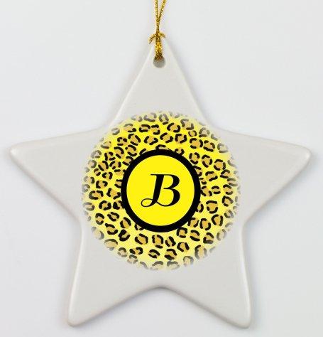 "Rikki Knighttm Letter ""B"" Initial Yellow Leopard Print Monogrammed Porcelain Star Ornament front-591745"