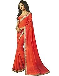 Faux Georgette Saree In Orange Colour For Party Wear - B00VD3B1TM