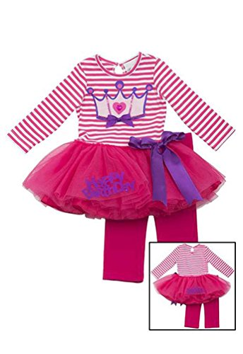 Rare Editions Girls 2T-6X Fuchsia Crown Happy Birthday Tutu Leggings 2-Pc Outfit, 3T front-69679