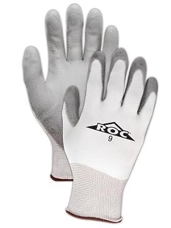 Magid ROC GP139 Polyester Glove, Gray Polyurethane Palm Coating, Knit Wrist Cuff