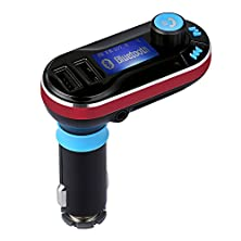 buy Yaker Wireless Bluetooth Mp3 Player Fm Transmitter Hands-Free Car Kit Charger, Dual Usb Charging Port Car Charger Support For Bluetooth Hands-Free Telephone/Sd Card/Usb/Aux (Red)