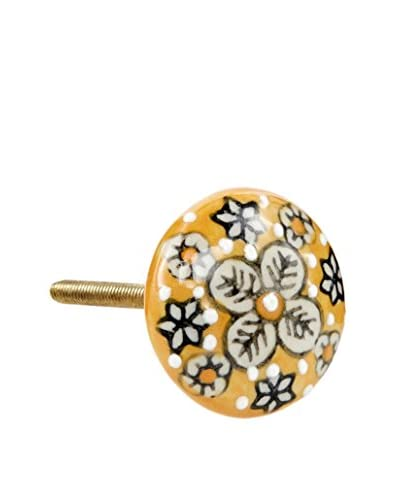 A. Sanoma Inc. Flower Knob, Mustard/Navy/White