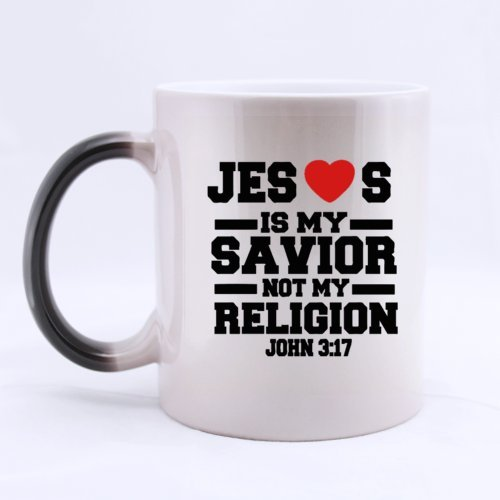 "Belief Christian Custom Bible ""Jesus Is My Savior Not My Religion"" Ceramic Morphing Home/Office Mug 11 Ounces Heat Sensitive Color Changing Mug - Great Gift Idea"