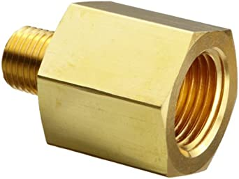 """Parker 4-2 RA-B Brass Pipe Fitting, Reducing Adapter, 1/4"""" NPT Female x 1/8"""" NPT Male"""