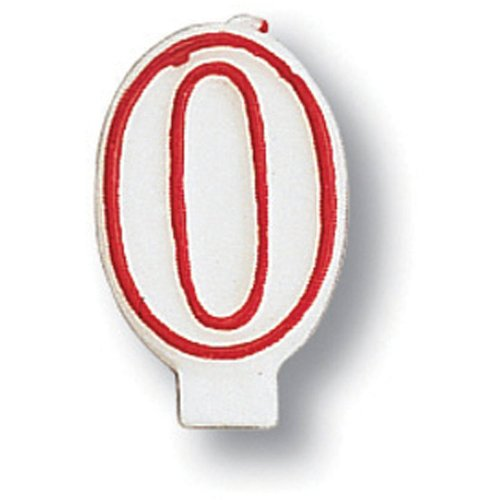 Creative Converting 80183033 #0 Red Outline Numeral Birthday Candle - 1