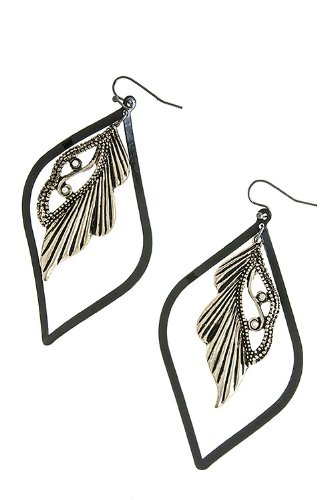 Karmas Canvas Indian Feather Earrings (Antique Gold) front-823971
