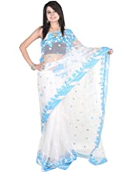 Exotic India Water And Ice Sari With All-Over Ari Embroidered Bo - Water And Ice