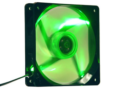 Apevia Cf12Sl-Tgn 120Mm Uv Green Led Fan W/3-Pin And 4-Pin Connectors And Black Grill