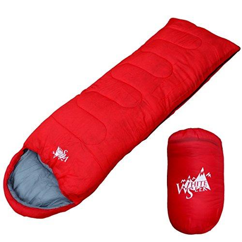 丸洗いが出来る寝袋! 封筒型 寝袋 シュラフ [最低使用温度7度] 500 (レッド)