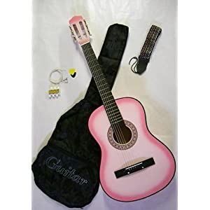 "38"" Pink Acoustic Guitar w/ Carrying Case & Accessories"