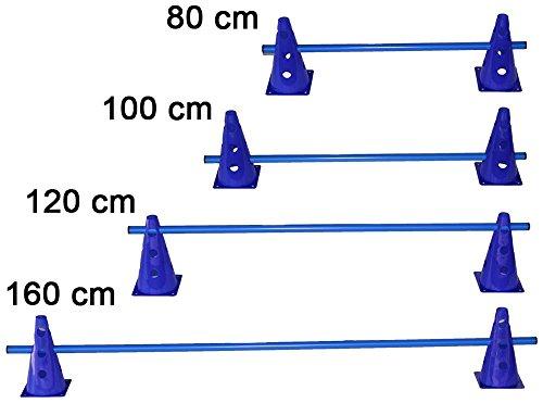 Artikelbild: Agility Hundesport - Steckhürde für Koordinationstraining - 2x MZK: 23 cm, blau / 1x Stange: 160 cm, blau