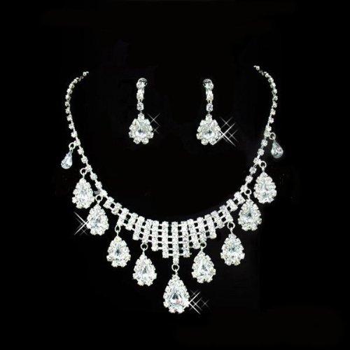 Swarovski Elements Sparkling Ladies Teardrop Austrian Crystal Necklace and Earring Set For Women