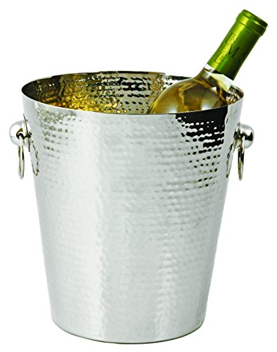 True Fabrications Mazaro Beautiful, Unique, Modern Hammered Silver Stainless Steel Ice Bucket With Handles front-239900