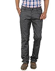 Carbon Men Grey Slim Fit Cotton Trousers