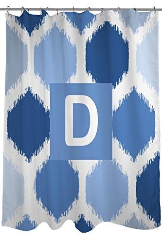 Thumbprintz Shower Curtain, Monogrammed Letter D, Blue Batik front-1051184