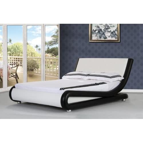 5FT Italian Designer Faux Leather King Size Mallorca Bed Frame in BLACK WITH WHITE