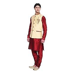 Favoroski Men Cream banarasi silk Waistcoats