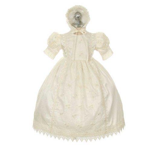 Rain Kids Ivory Silk Lace Bonnet Baptism Dress Baby Girl 18M