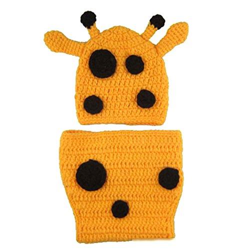 Foxnovo Cute Newborn Infant Baby Girl Boy Handmade Crochet Knit Crown Hat Photograph Prop (Deer Style) front-792240