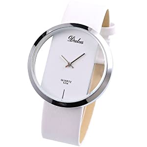 Amazon.com: Dalas White Leather Transparent Dial Fashion