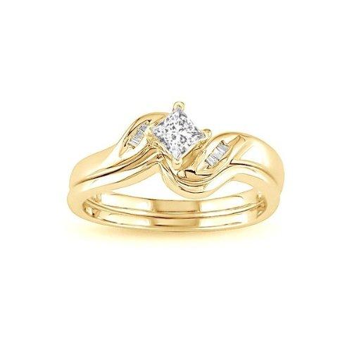 0.58 CaratPrincess cutDiamondWedding Bridal Ring Set On14k YellowGold