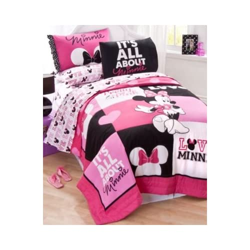 Cute Disney Minnie Mouse Pink Black Love Full Quilt Shams and Sheet Bedding Set Piece Set