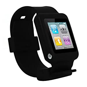 iPod Nano 6th Gen watch wrist band skin case for iPod Nano 6th Generation, 6G / 6 compatible with 8GB / 16GB (Black)
