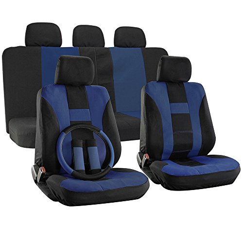 OxGord 17pc Set Flat Cloth Mesh Blue & Black H Stripe Seat Covers Set - Airbag Compatible - Front Low Back Buckets - 50/50 or 60/40 Rear Split Bench - 5 Head Rests - Universal Fit for Car, Truck, Suv, or Van - FREE Steering Wheel Cover (2014 Dodge Ram Wheel Covers compare prices)