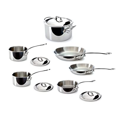 Mauviel M'Cook 5 Ply Stainless Steel 5210.10 10-Piece Set with Cast Stainless Steel Handle
