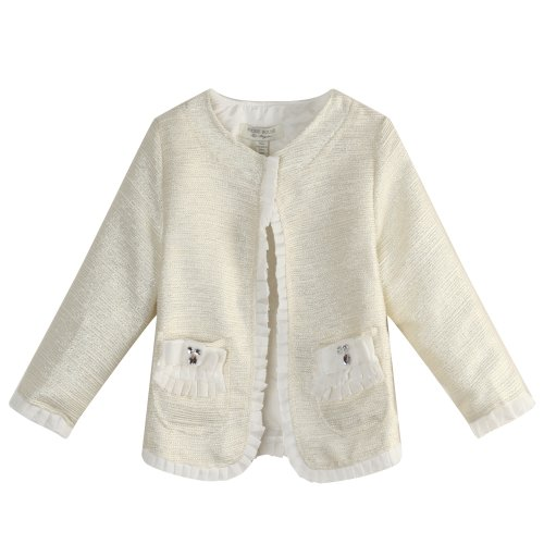 Richie House Little Girls' Coat With Flounced Edges Decoration RH1065