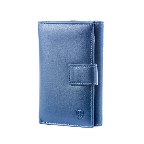 Portafoglio donna grande in pelle con portamonete firmato DV Blu