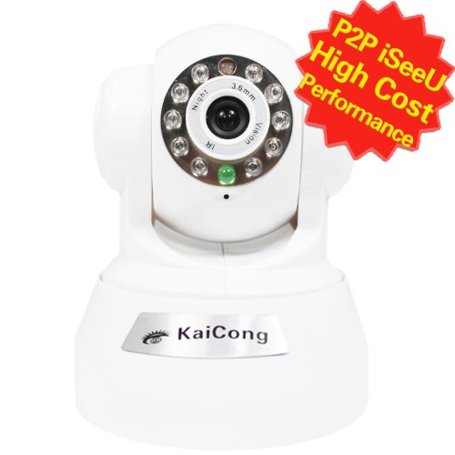 KaiCong Sip1602 P2P/Pan & Tilt IP Camera/Wifi Plug & Play/Motion Detection/Mobile View/Network Camera with 8 Meter Night Vision and 3.6mm Lens (67° Viewing Angle)