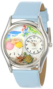 Whimsical Watches Women's S1212001 Seashells Baby Blue Leather Watch