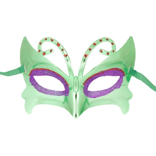 Como Green Red Powder Eyes Green Plated Plastic Rhinestone Decor Half Face Mask