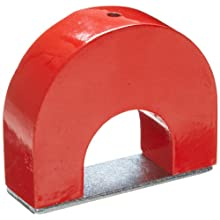 "Cast Alnico 5 Horseshoe Magnet With Keeper, 3"" Wide, 2-1/2"" High, 15/16"" Thick, 3/16"" Hole On Top (Pack of 1)"