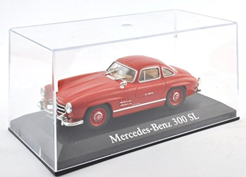 DieCast-Metall-Miniaturmodelle-Modellauto-143-Oldtimer-Klassiker-Mercedes-Benz-300-SL-Modell-rot-Altaya-IXO-inklusive-Kunststoff-Vitrine