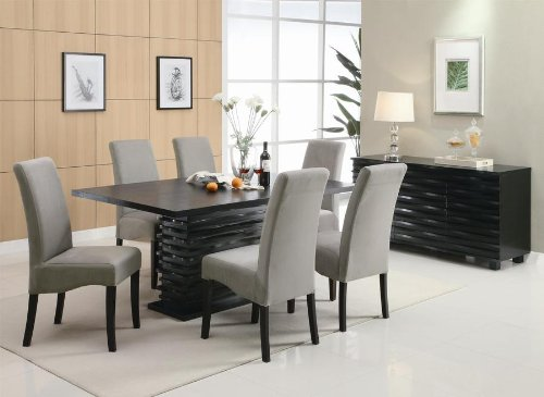 Stanton Contemporary 7-Pc Black and Gray Dining Table Set by Coaster