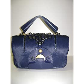 Fendi Handbags Secrete Code - Dark Blue Hair Leather 8BN199 - LIMITED
